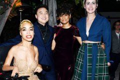 "LOS ANGELES, CALIFORNIA - DECEMBER 02: (L-R) Jillian Mercado, Leo Sheng, Rosanny Zayas and Jacqueline Toboni attend the after party for the premiere of Showtime's ""The L Word: Generation Q"" at Hotel Figueroa on December 02, 2019 in Los Angeles, California."
