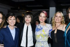 "LOS ANGELES, CALIFORNIA - DECEMBER 02: (L-R) Stephanie Allynne, Tig Notaro, Kate Moennig, Leisha Hailey, Kim Dickens and Jennifer Beals attend the after party for the premiere of Showtime's ""The L Word: Generation Q"" at Hotel Figueroa on December 02, 2019 in Los Angeles, California"