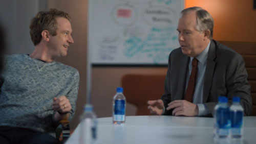 Alice's boss and the white, male, new hire enjoy each other's ideas.
