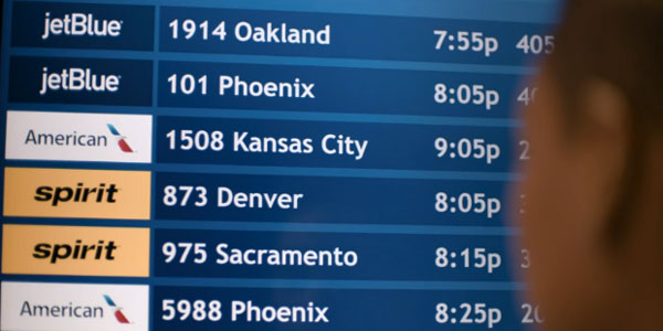 airport departure board for Kansas City.