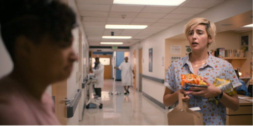Finley shows up at the hospital with an armful of snacks.