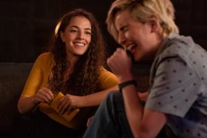 "(L-R) Olivia Thirlby as Rebecca and Jacqueline Toboni as Sarah Finely in THE L WORD: GENERATION Q, ""Less is More"". Photo Credit: Hilary Bronwyn Gayle/SHOWTIME."