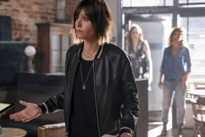 "(L-R) Katherine Moennig as Shane McCutcheon, Jamie Clayton as Tess and Mercedes Mason as Lena  in THE L WORD: GENERATION Q, ""Lost Love""."