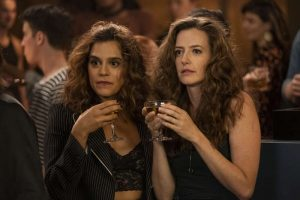 "(L-R) Sepideh Moafi as Gigi and Stephanie Allynne as Nat in THE L WORD: GENERATION Q, ""LA Times"""
