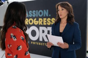 "(L-R) Jordan Hull as Angie and Jennifer Beals as Bette Porter in THE L WORD: GENERATION Q, LA Times""."