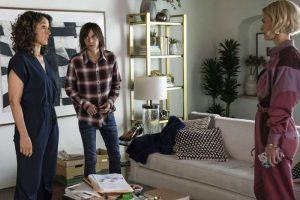 Bette, Shane and Alice stand in living room on The L Word Generation Q
