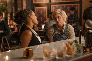 Sophie talks to Finley at the bar on The L Word Generation Q